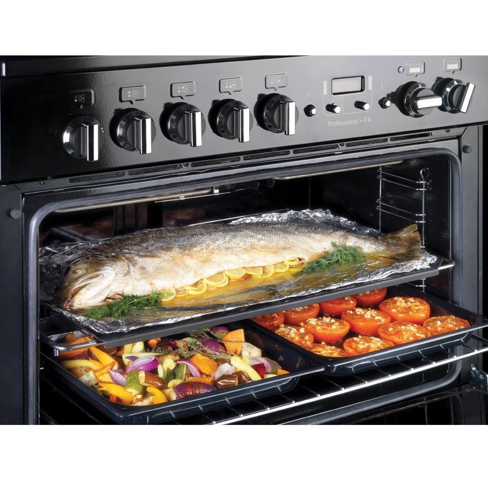 Falcon Professional+ FXP 90cm Dual Fuel Oven open with food